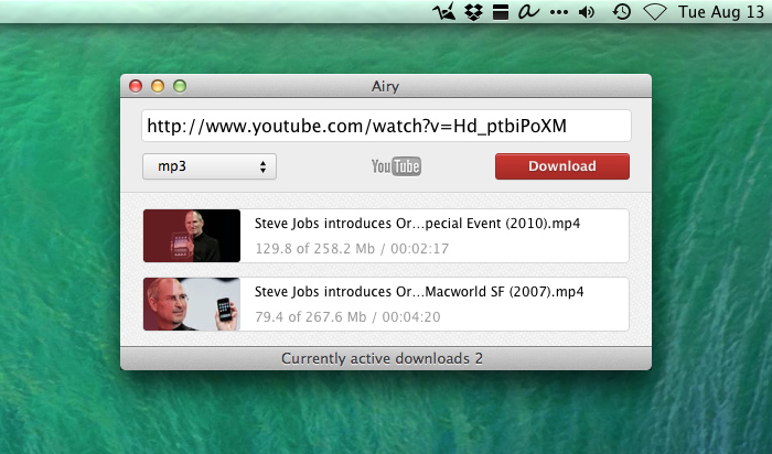 Download videos from YouTube with MAC Airy